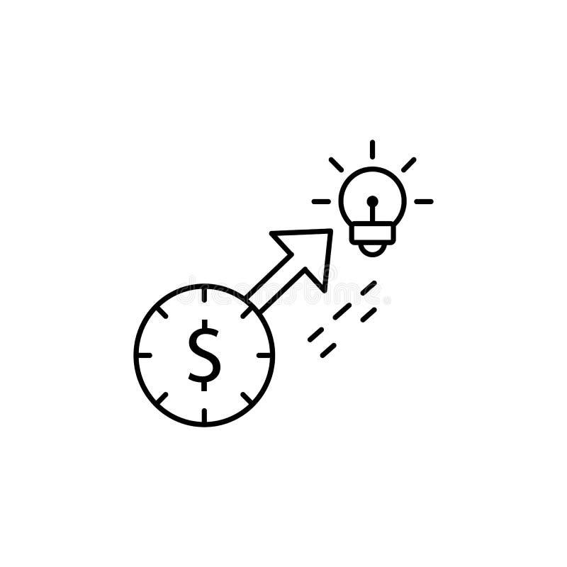 Ideaal het gedragspictogram van de dollartijd Element van het pictogram van de consumentengedraglijn vector illustratie
