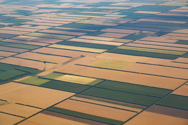 Ideal rectangular shaped yellow and green fields. View from the altitude of flight royalty free stock photo