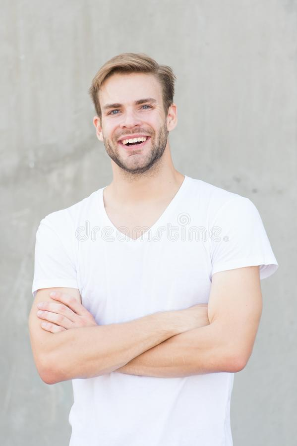 Ideal traits that make man physically attractive. Bearded guy casual style close up. Charming smile. Male beauty royalty free stock photos