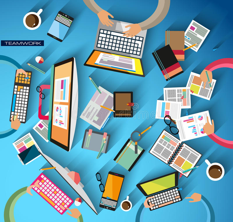 Ideal Workspace for teamwork and brainsotrming with Flat style. stock illustration