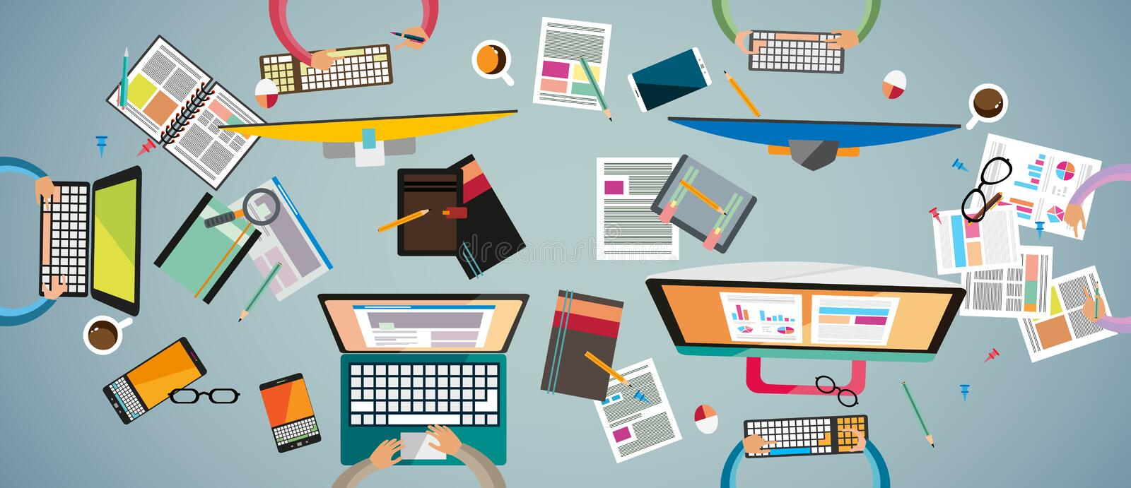 Ideal Workspace for teamwork and brainsotrming with Flat style. vector illustration