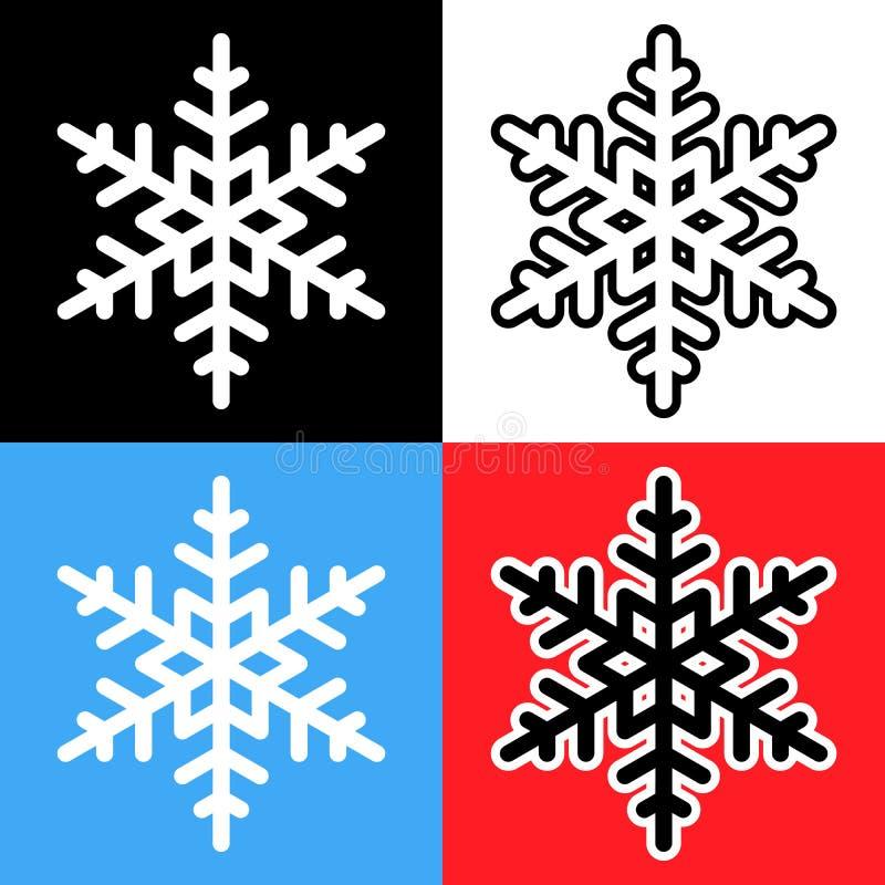 Ideale Schneeflockenvektor-Ikonenvarianten auf verschiedenen Hintergründen vektor abbildung