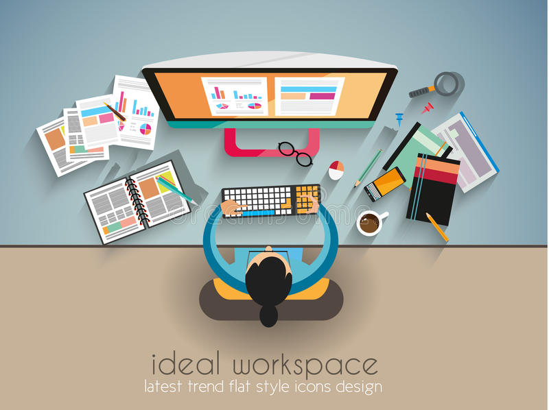 Ideale Werkruimte voor groepswerk en het brainsotrming met Vlakke stijl stock illustratie