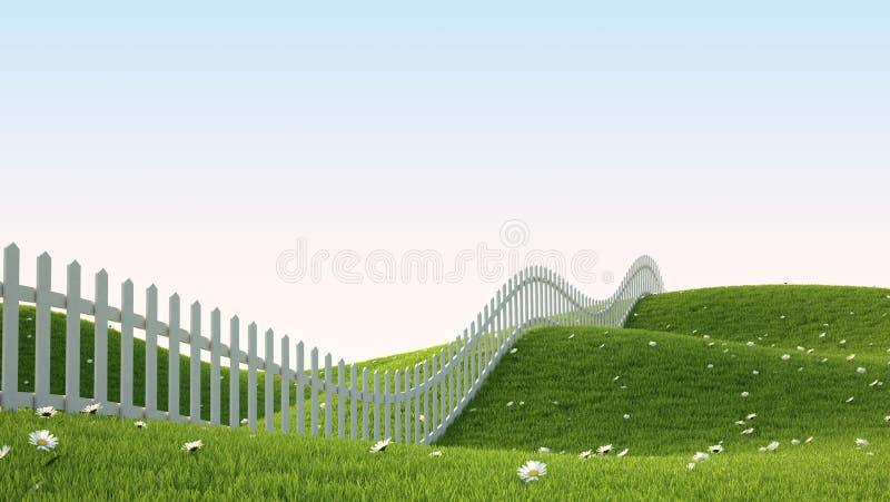 Idealistisch landschap met omheining stock illustratie