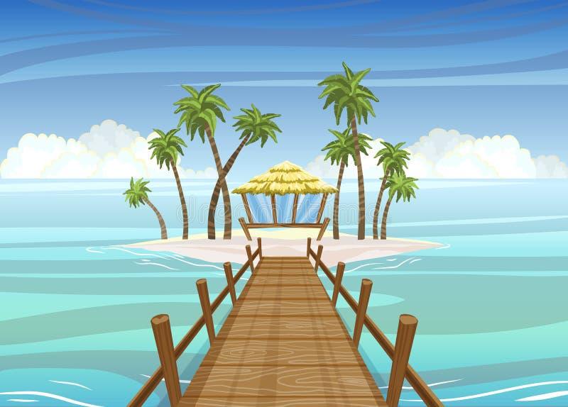 Idealistische Tropeninsel, Holzbrücke zum Bungalowhaus stock abbildung