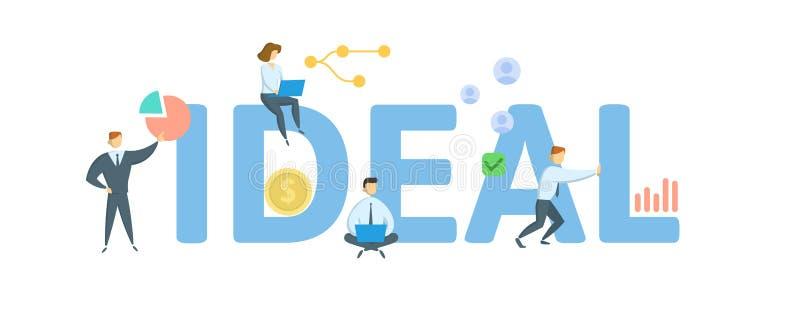 idealt Begrepp med folk, bokst?ver och symboler Plan vektorillustration bakgrund isolerad white stock illustrationer