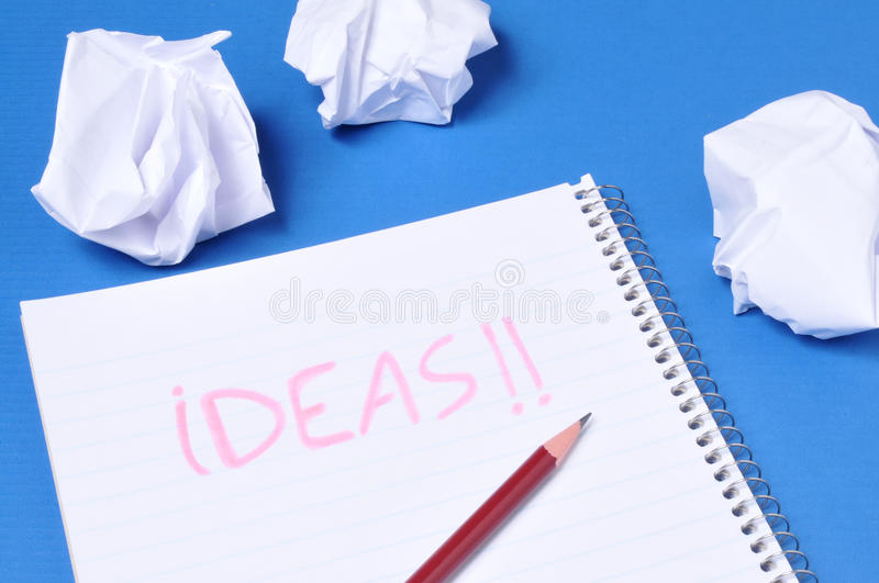 Ideas. The word ideas written on a notebook royalty free stock photo