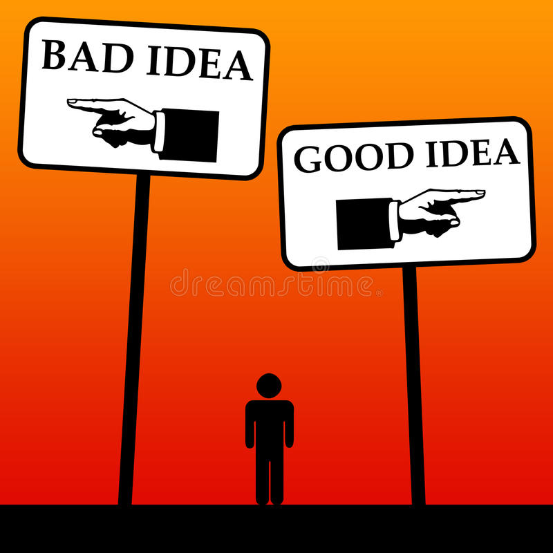 Ideas. Trying to differentiate between good ideas and bad ideas royalty free illustration