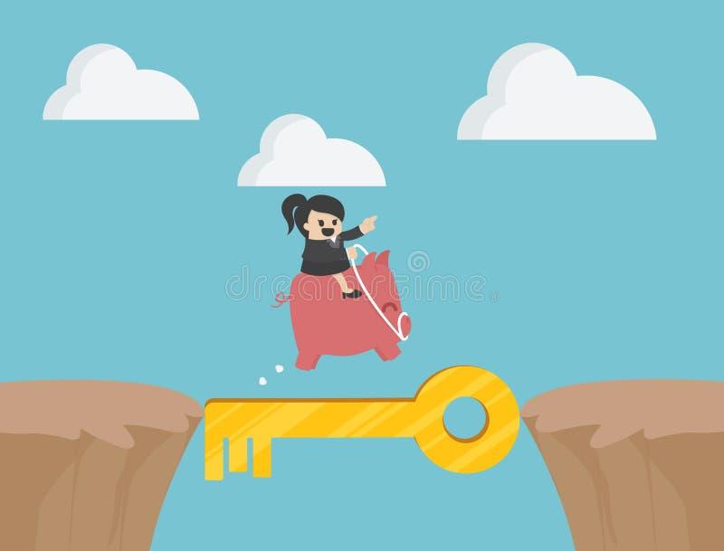 Ideas, ahorros y éxito stock de ilustración