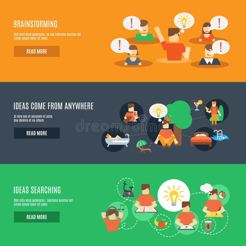 Ideas Banner Set. Ideas searching horizontal banner set with brainstorming elements isolated vector illustration vector illustration