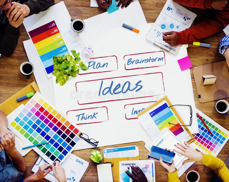 Ideas Be Creative Fresh Inspire Concept. People having a Discussion stock photo