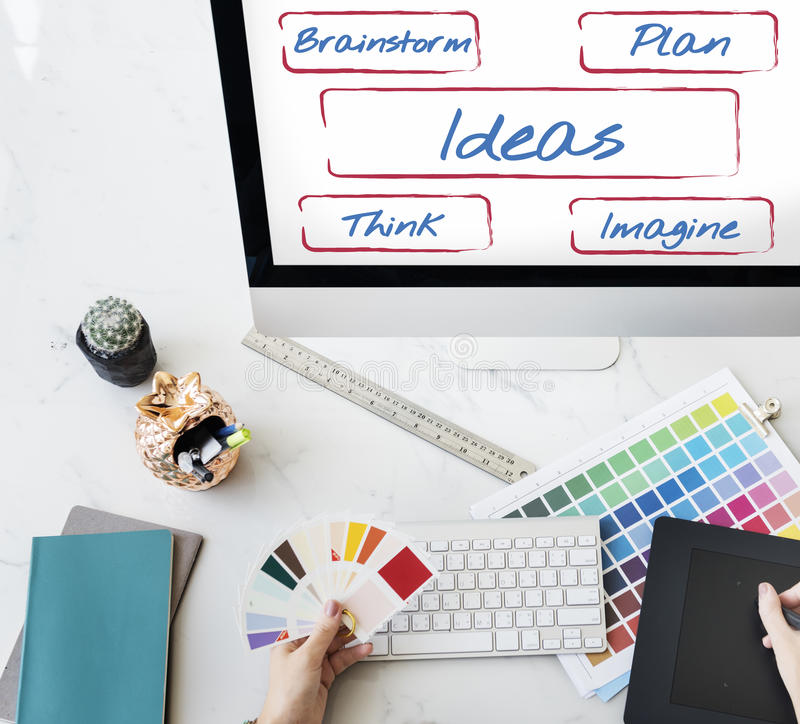 Ideas Be Creative Fresh Inspire Concept. Creative Ideas Plan Brainstorm Concept royalty free stock photo