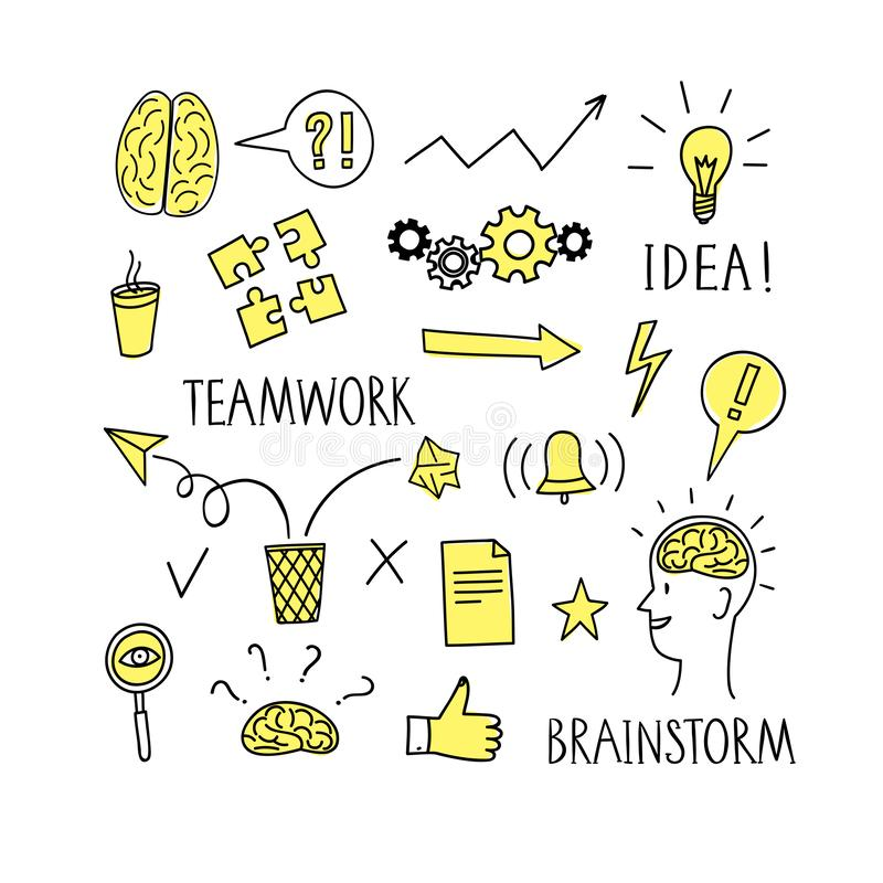 Ideas, brainstorm and teamwork doodle symbols big set. Cartoon illustration with isolated objects for your design vector illustration