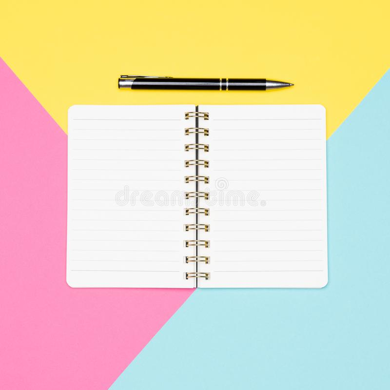 Ideas, brainstorming, creativity concept. Top view photo of office desk with blank mock up open notepad. Workspace desk flat lay. Ideas, brainstorming stock photo
