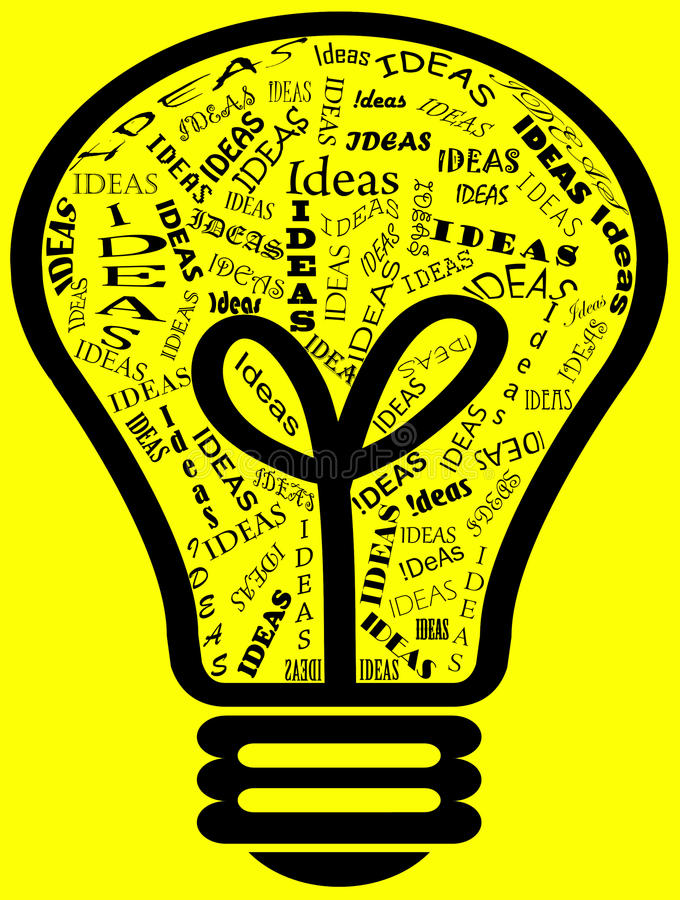 Ideas in a Bulb. Illustration showing bulb with different type of Ideas reflecting a person's creativity upon his success with the Ideas a person thinking off royalty free illustration