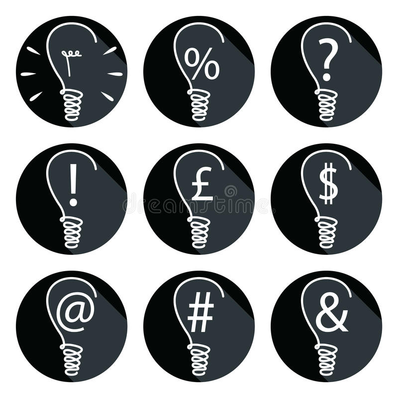 Ideas - bulbs set of icons. With associated elements such as percent sign, exclamation mark, dollar sign, British pound, question mark, mailing sign , and stock illustration