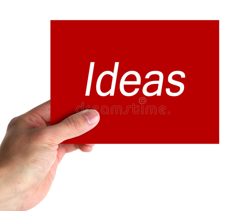 Ideas Card. Ideas red card in hand on white background isolated royalty free stock photography