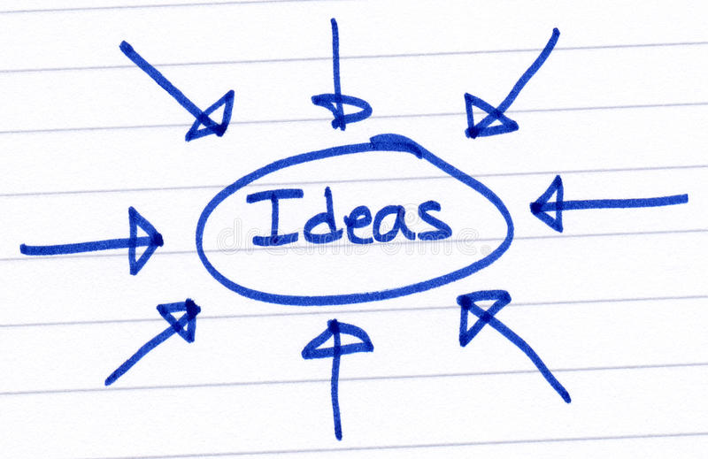 Ideas, circled and written on white paper. Ideas, circled and written in blue ink on white paper stock photo