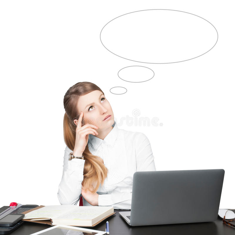 Ideas concept. Business woman with empty speech bubbles. royalty free stock image