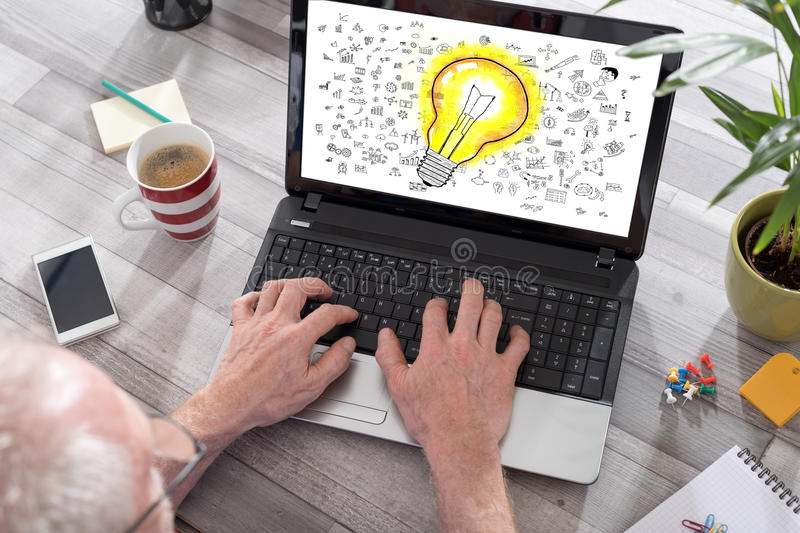 Ideas concept on a laptop screen stock images