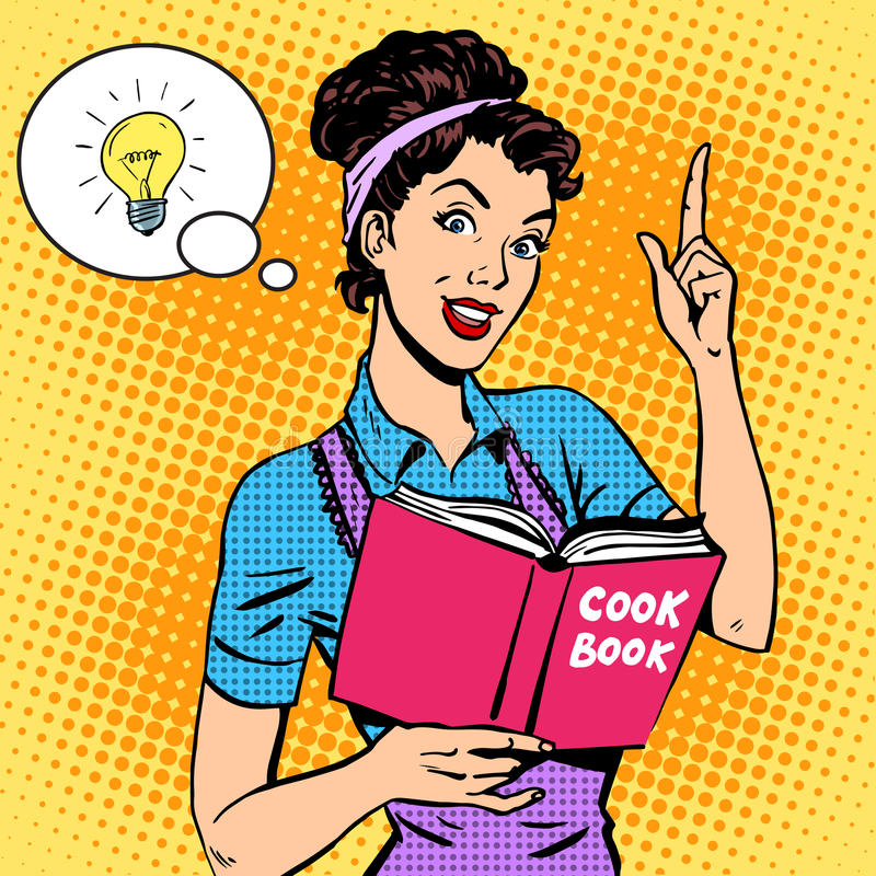 Ideas cookbook housewife. Recipe. Food cooking tutorial woman pop art retro style royalty free illustration