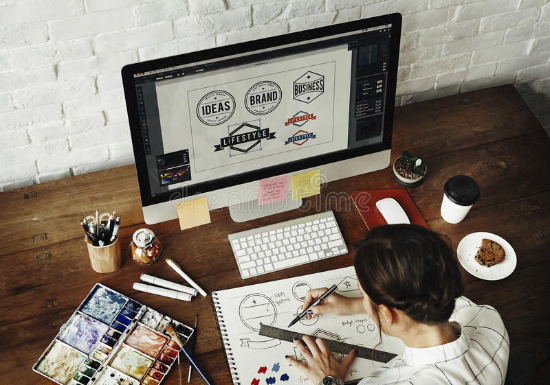 Ideas Creative Occupation Design Studio Drawing Startup Concept stock image