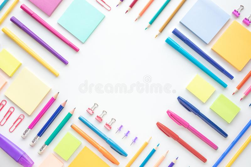 Ideas creativity concepts with flat lay of colorful stationery on wite space background.back to School.Modern mock up of business. And education stock photo