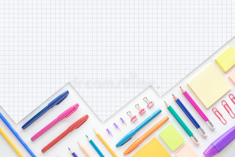 Ideas creativity concepts with flat lay of colorful stationery on wite space background.back to School.Modern mock up of business. And education royalty free stock photo