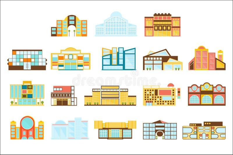 Ideas de la arquitectura de las tiendas de la alameda de compras, de los grandes almacenes y del supermercado fijadas libre illustration