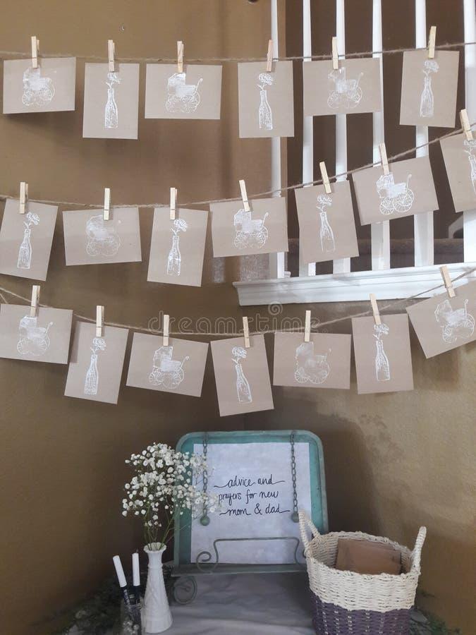 Ideas de la fiesta de bienvenida al bebé imágenes de archivo libres de regalías