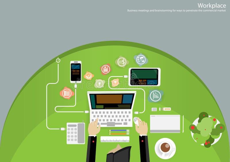 Ideas del intercambio de ideas del negocio del lugar de trabajo del vector para usar tecnología para comunicar con un papel, los  stock de ilustración