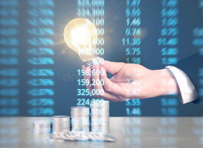 Ideas, energy saving light bulb royalty free stock photography