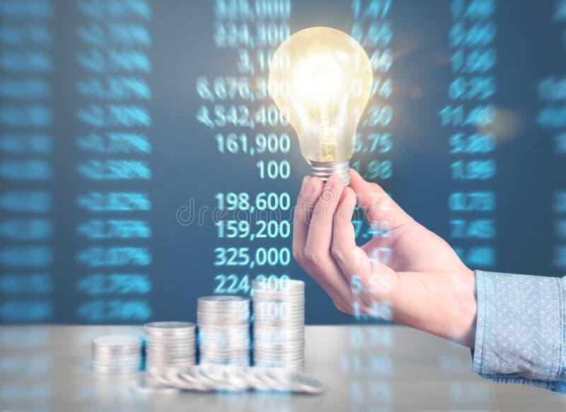 Ideas, energy saving light bulb royalty free stock images