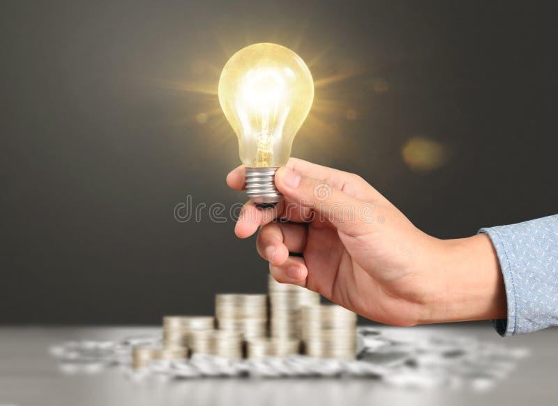 Ideas, energy saving light bulb stock photos