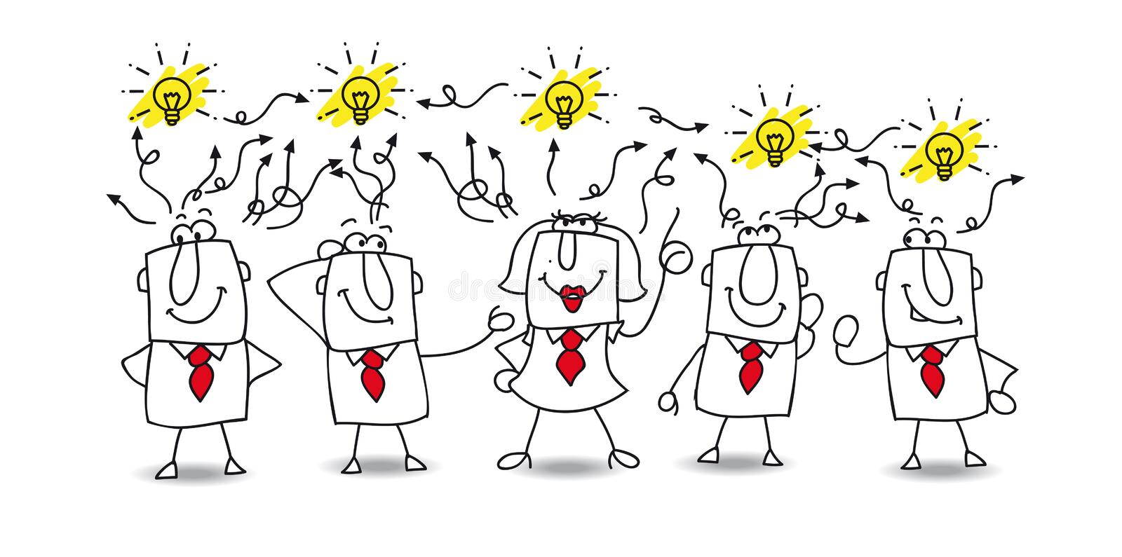 Ideas exchange. Karen and the team exchange their ideas. Finally, they find the solution !they are very creative royalty free illustration