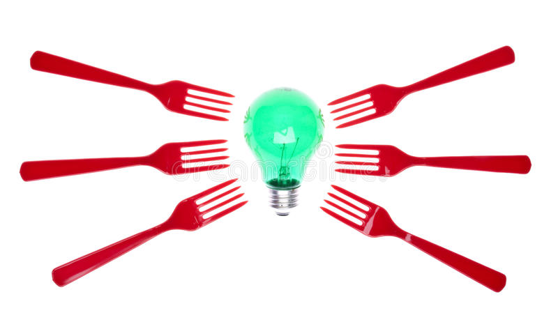 Ideas About Food. Green Light Bulb with Red Forks for Concepts Having to do with Food. Isolated on White with a Clipping Path stock photo