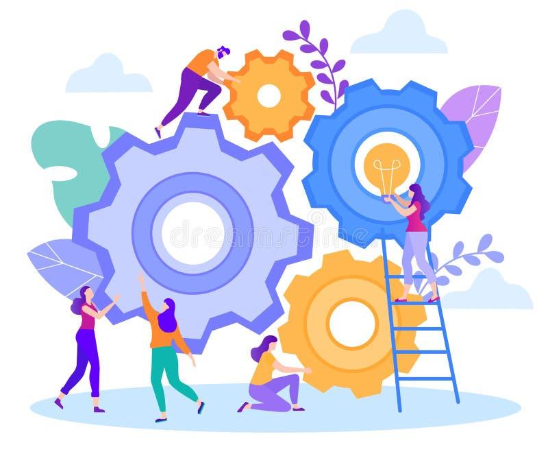 Ideas frescas de la generación grande plana del trabajo en equipo de la historieta stock de ilustración