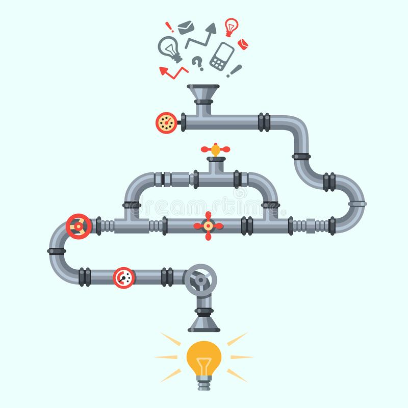 Ideas generator. Idea generation machine, industry pipeline factory machines with lighting lamp. Business process vector royalty free illustration
