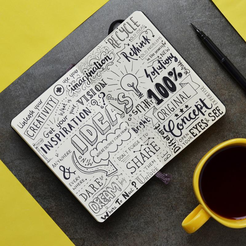 Ideas` Graphic Notes In Notepad On Stone Surface Stock Image