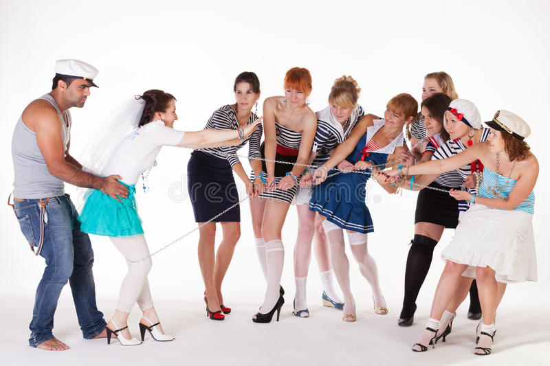 Ideas for hen party. Sailors and bandit royalty free stock images