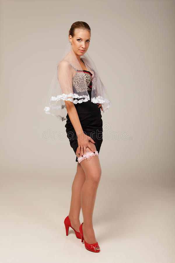Ideas for hen party: don't forget garter. Garter is a special thing every fiancée should wear royalty free stock image