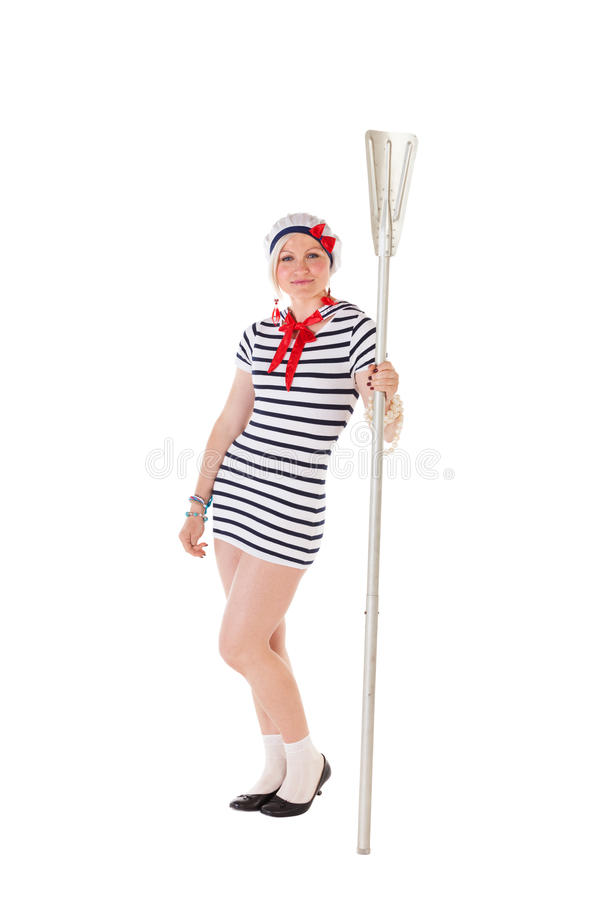 Ideas for hen party: girl with an oar. Ideas for hen party: bridesmaid holding oar royalty free stock photo