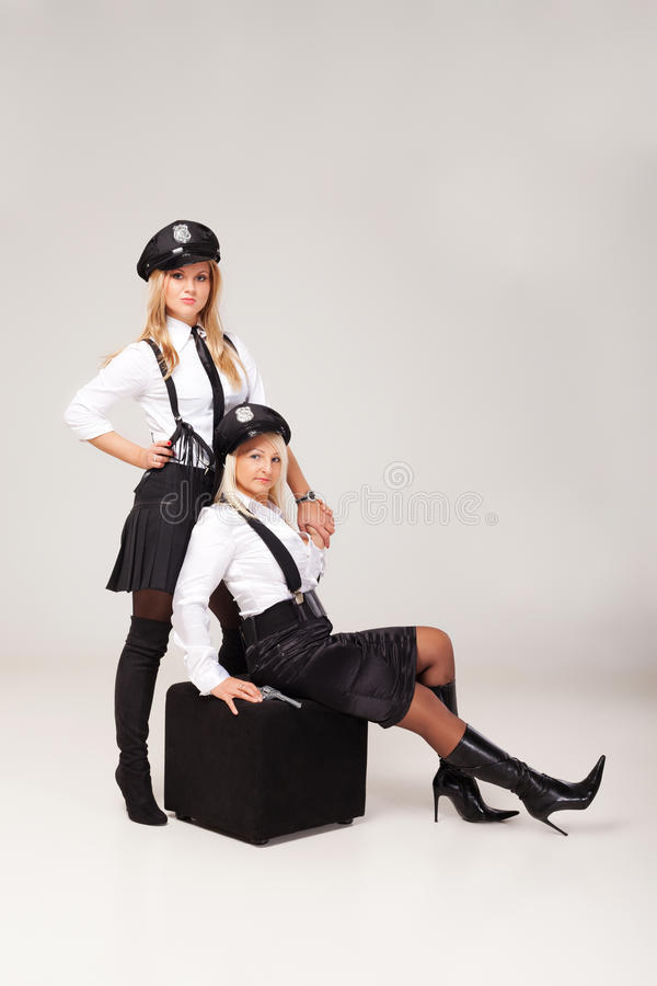 Ideas for hen party: play games. Fiancée's party mate are playing in morality police stock image