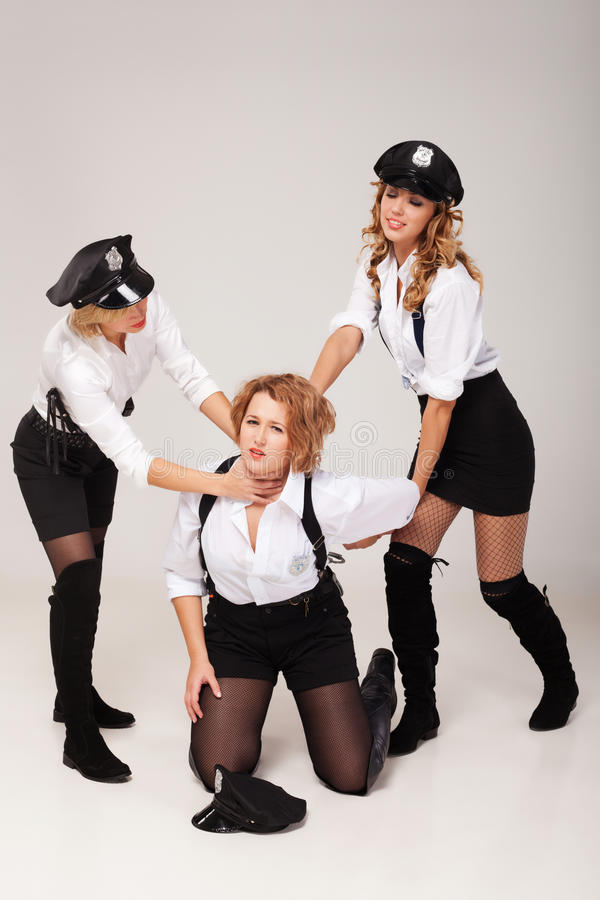Ideas for hen party: play games. Fiancée's party mate are playing in morals police stock photos