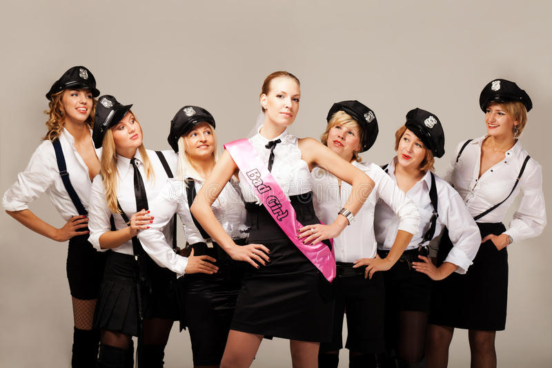 Ideas for hen party: take your friends with you. Fiancée with hen party mates stock photo