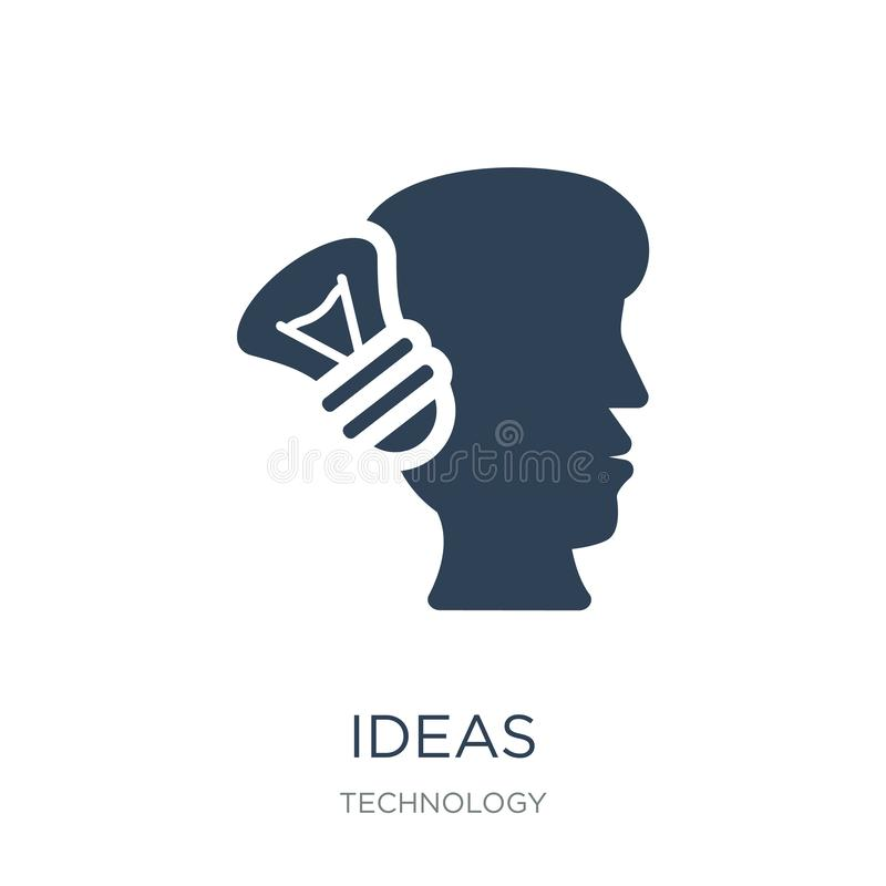ideas icon in trendy design style. ideas icon isolated on white background. ideas vector icon simple and modern flat symbol for royalty free illustration