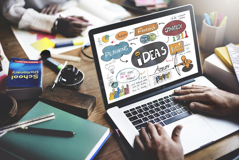 Ideas Idea Vision Design Plan Objective Mission Concept.  royalty free stock images