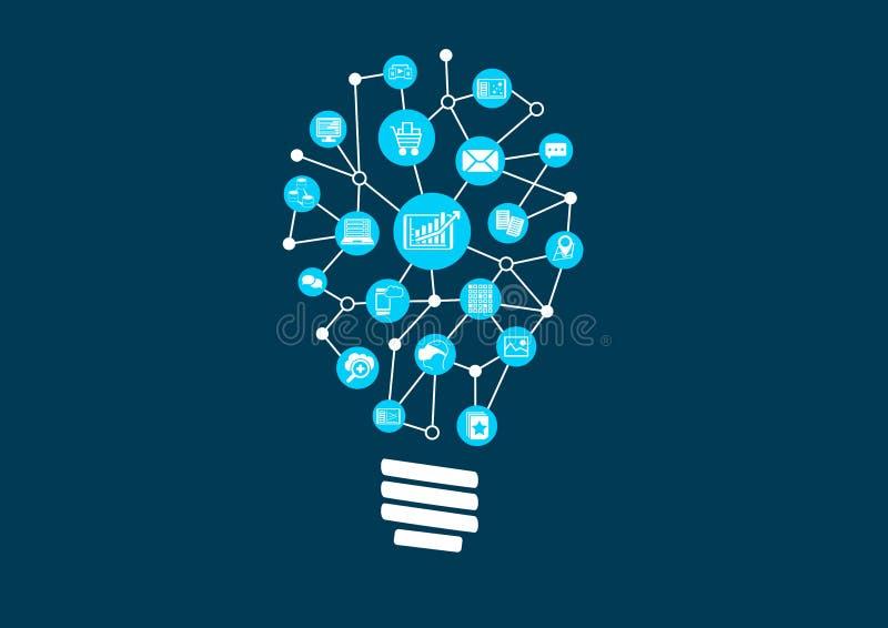 Ideas innovadoras para los datos grandes y analytics profético en un mundo digital stock de ilustración