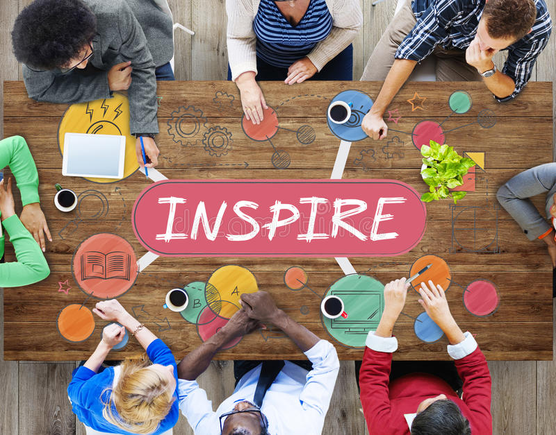 Ideas Inspire Creative Thinking Motivation Concept. People having a Discussion stock images