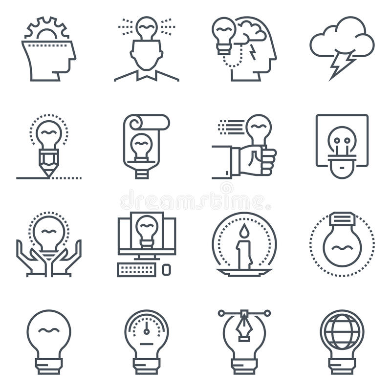 Ideas and lamps icon set. Suitable for info graphics, websites and print media. Black and white flat line icons stock illustration